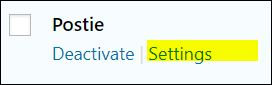 Postie WordPress plugin settings